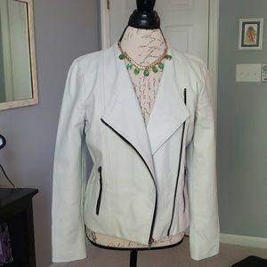 Light Gray Vegan Leather Jacket